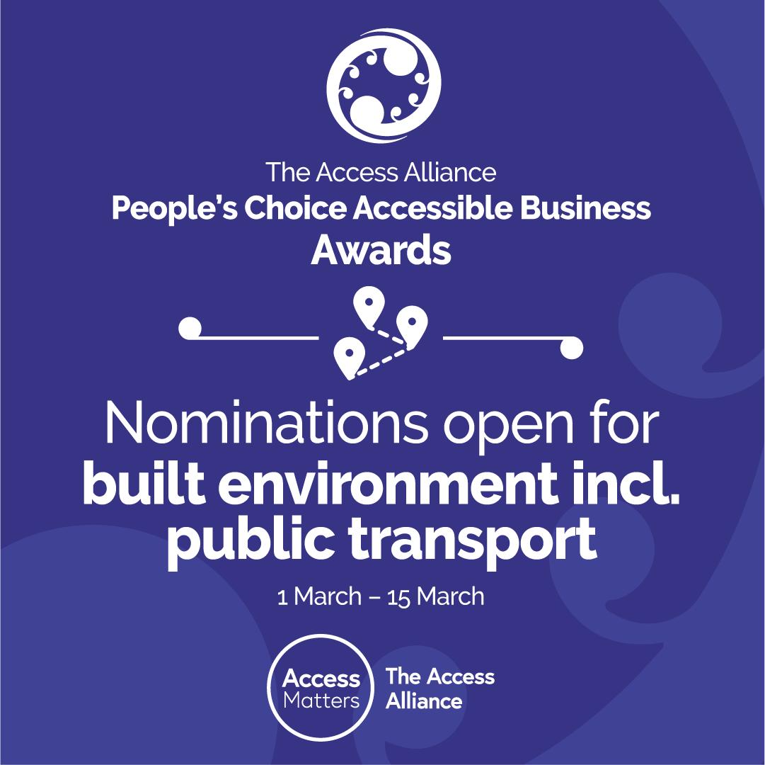 Built Environment including Public Transport provider 'Nominations Open' - dark blue tile
