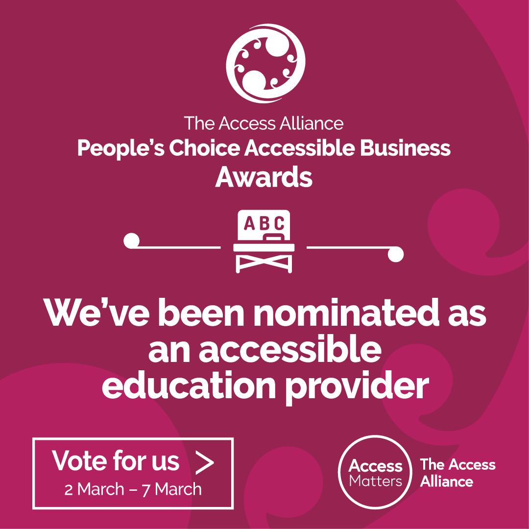 Education Finalist 'Vote for Us' pink tile