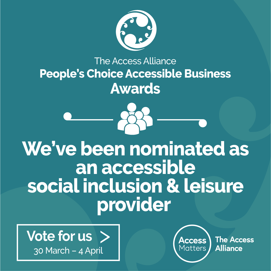 Social Inclusion & Leisure - Vote For Us - teal graphic tile
