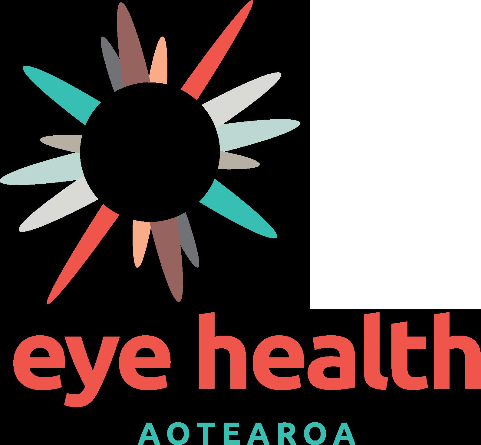 Eye Health Aotearoa multi-colour star-shaped logo