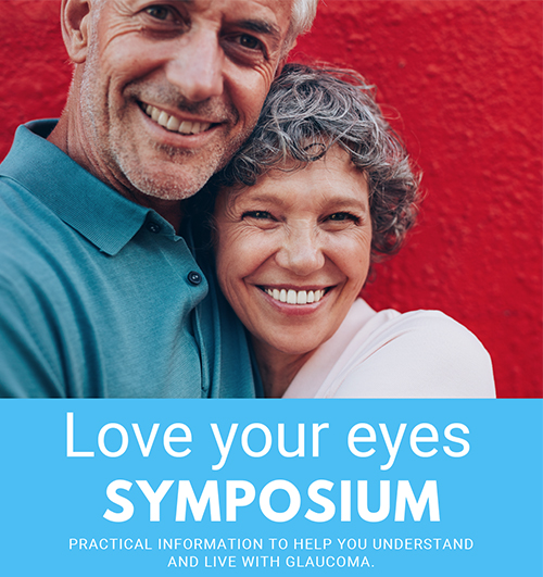 """Man and woman smiling. """"Love your eyes SYMPOSIUM"""""""