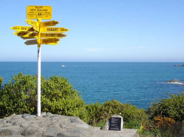 Signpost at Lands End, Bluff, New Zealand