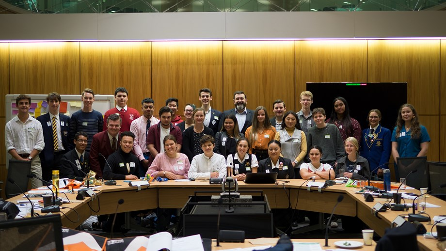 Photo of 2020 Youth Parliament members with the Parliamentary Clerk