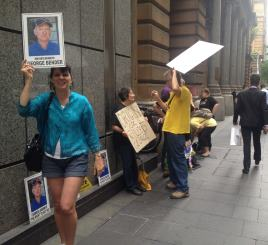 Gorege Bender demo outside Origin AGM