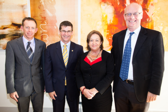 Shane Rattenbury, Brendan Smyth, Joy Burch, Tim Costello at ACCR launch