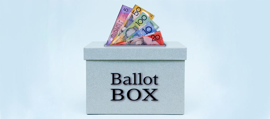 Ballot box with money