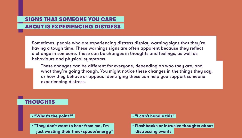 Distress mental health tip sheet - support