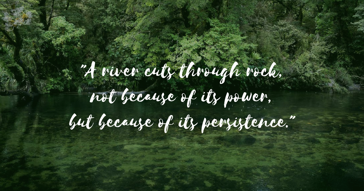 Photo of river with quote: \