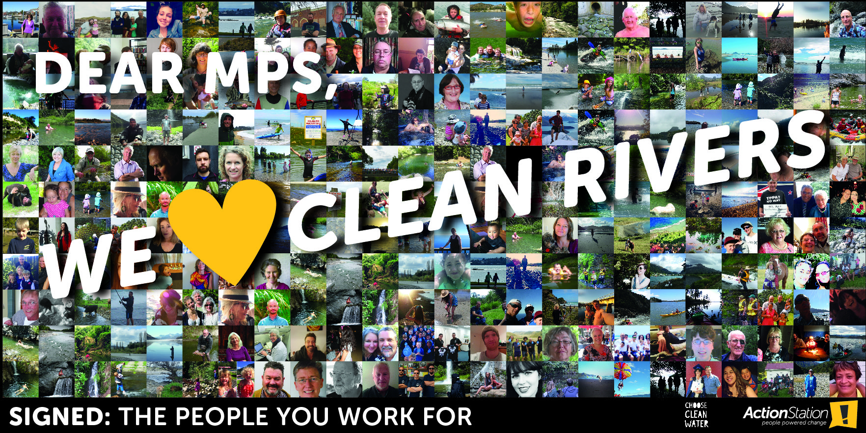 ActionStation billboard featuring crowdsourced photos of hundreds of New Zealanders enjoying their lakes, rivers and streams in a collage. It says \