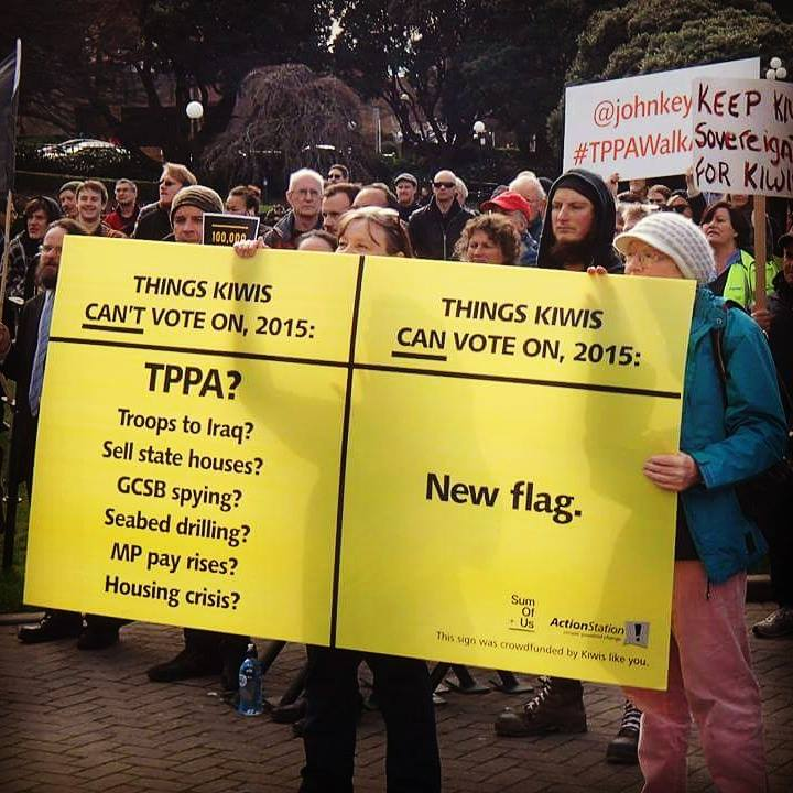 ActionStation members and a TPPA sign