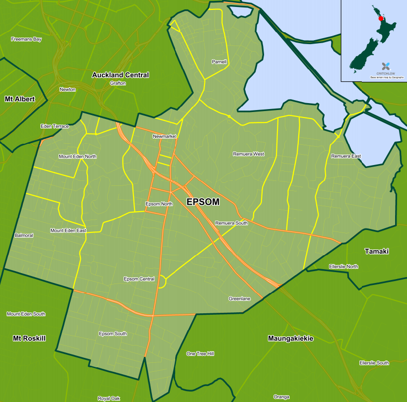 Map of Epsom electorate - includes Parnell, Remuera, Newmarket, Epsom, Mt Eden, and Greenlane