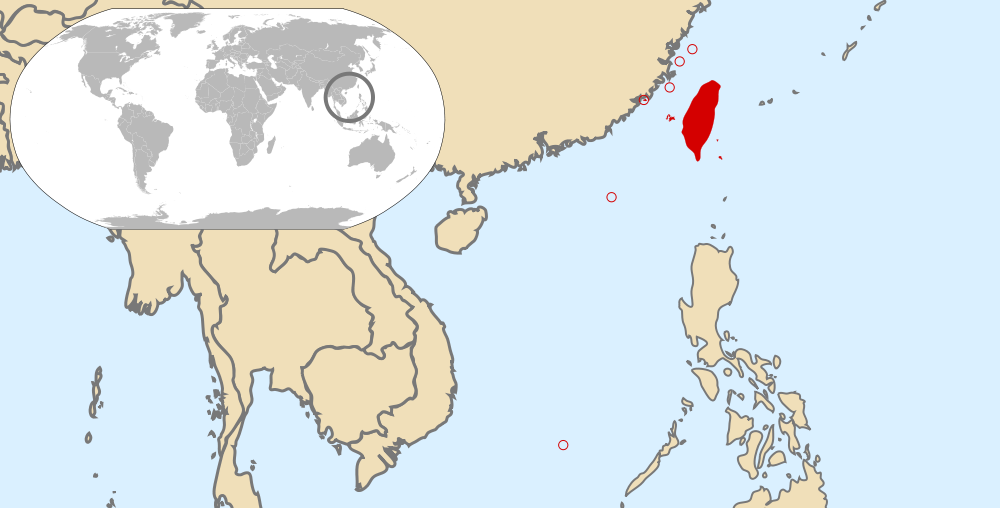 Location of the territories under the control of the Republic of China (red).