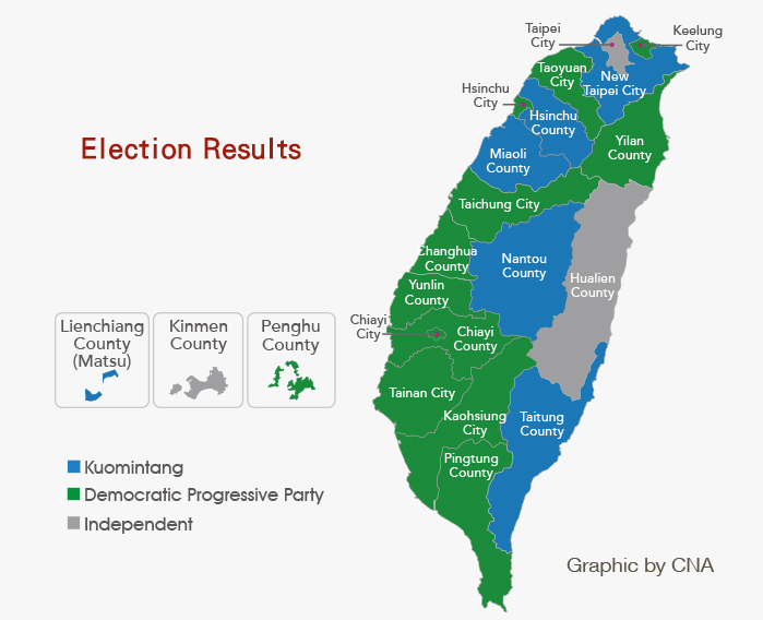 Taiwan 2014 Election Results