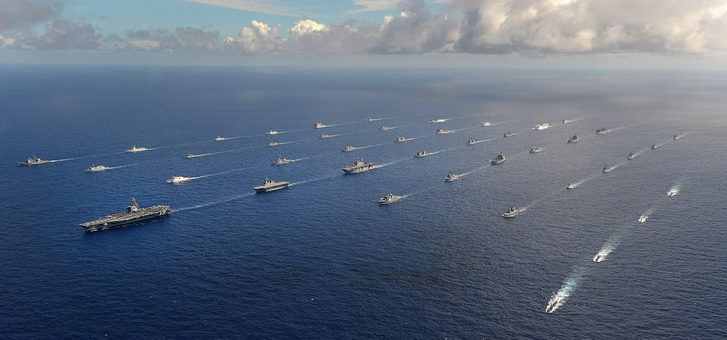 RIMPAC: Forty-two ships and submarines representing 15 international partner nations maneuver into a close formation