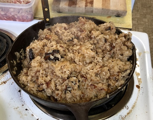 Oil Rice in a Skillet