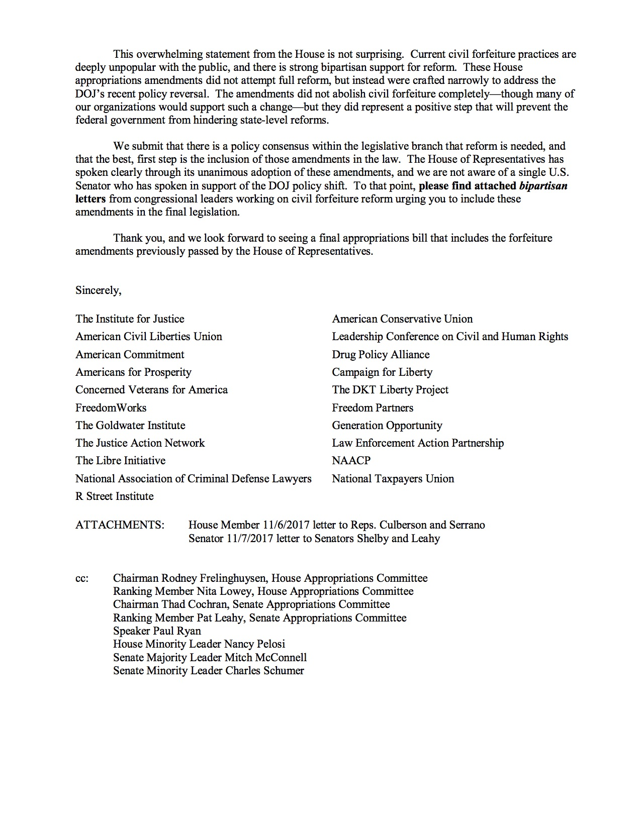 Group Of Bipartisan Organizations Send Letter To Congress In Support