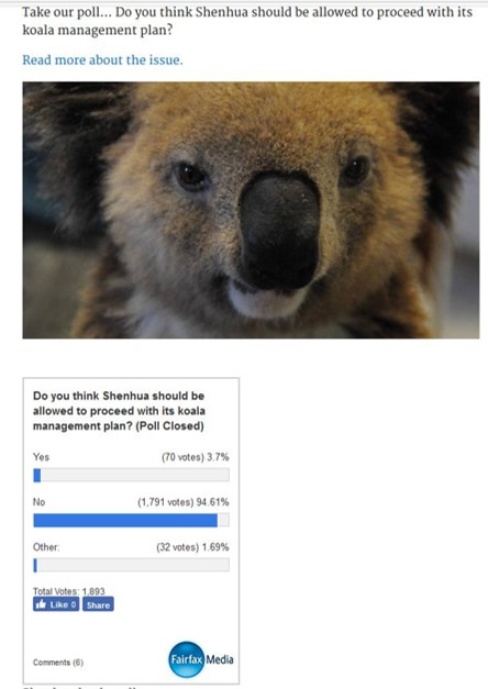2nd Shenhua Poll showing 94% opposition