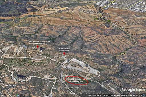 Google Map of the affected area where the fire is.