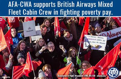 AFA Supports Flight Attendants at British Airways Mixed Fleet