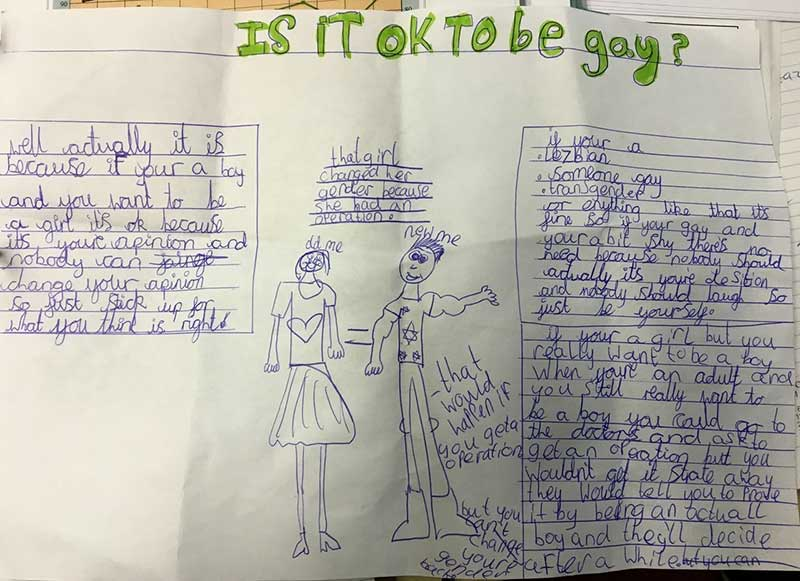 Example of a child's work displayed on the school website