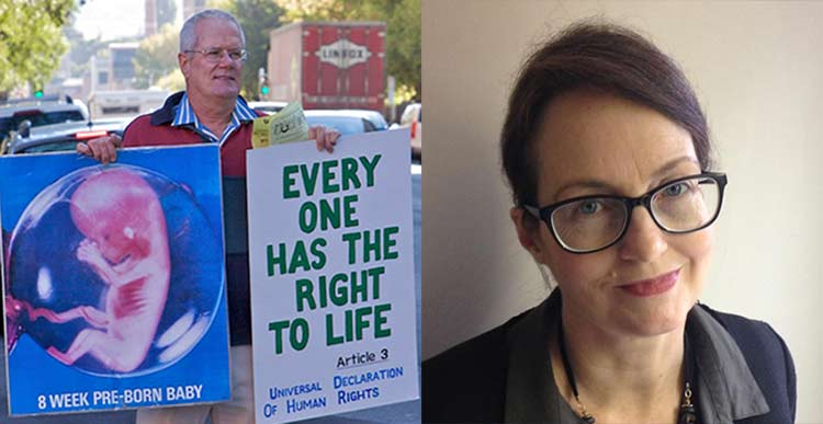 Pro-lifers Graham Preston (left) and Kathy Clubb (right) were arrested under state-based exclusion zone legislation