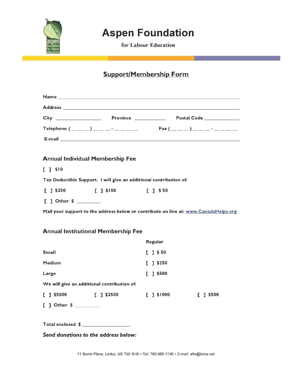 Aspen Foundation Membership Form