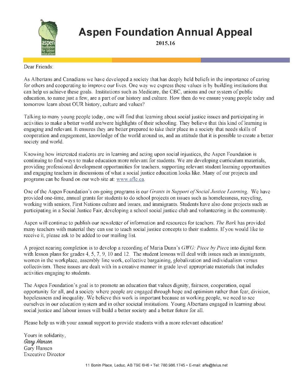 Aspen Foundation Annual Appeal Letter