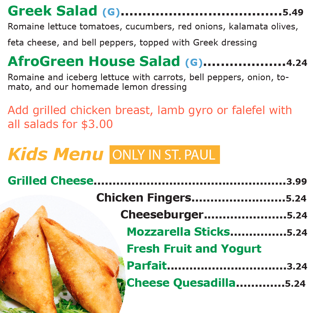 Afro Deli Kids Menu