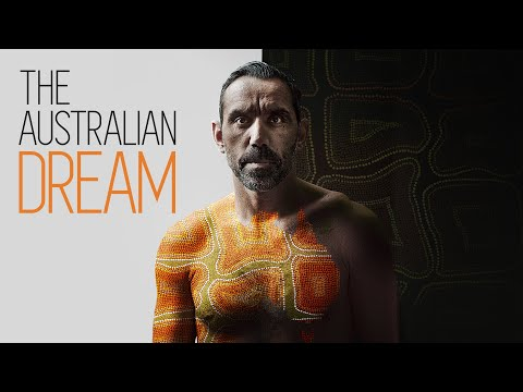 The Australian Dream movie promo picture with Adam Goodes in profile sitting at the beach