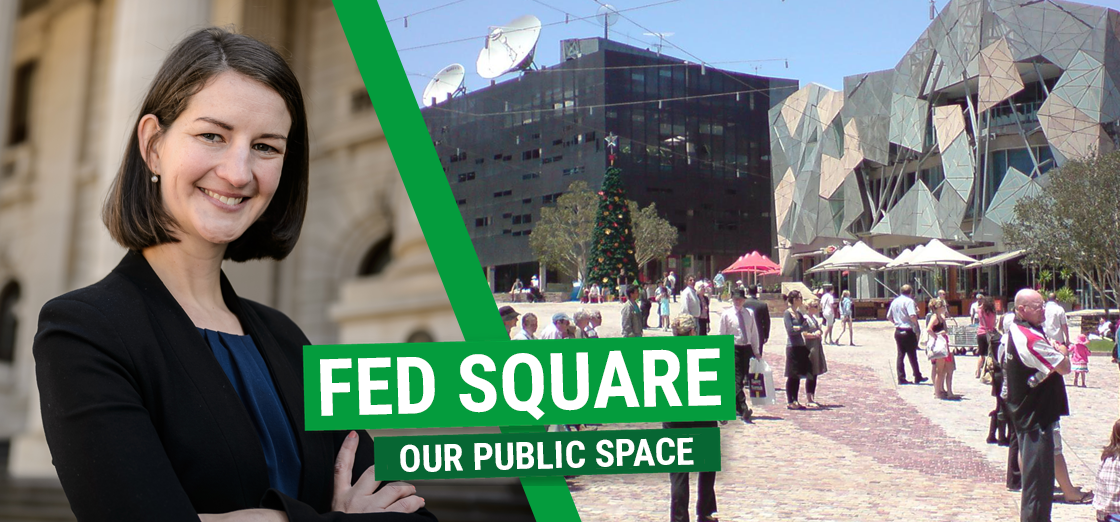 Ellen Sandell State MP for Melbourne in Fed Square