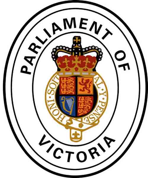 Parliament of Victoria Crest. A crown sits in the middle, with the words parliament of victoria wrapping around it.