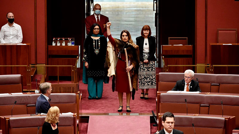 Lidia Thorpe enters the chamber as Victoria's next Greens Senator