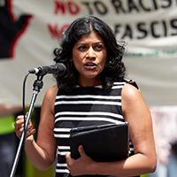 Samantha Ratnam speaking at anti-racism rally