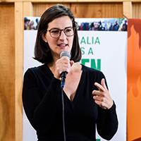 Ellen Sandell speaking at climate event