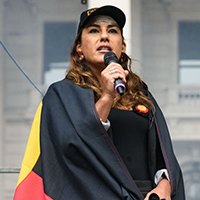 Lidia Thorpe speaking at Invasion Day rally
