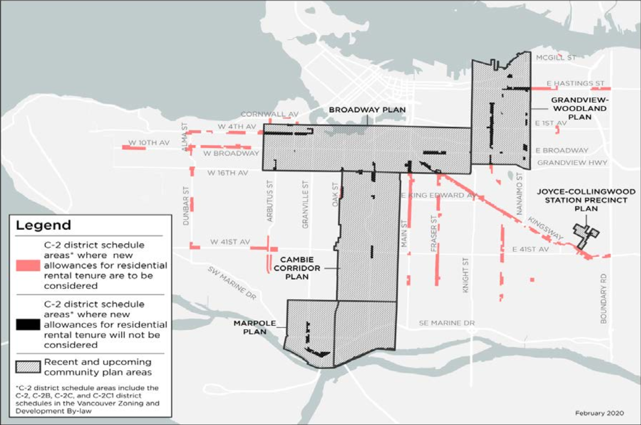 C-2 Zone Map, with GW, Broadway, and Cambie excluded
