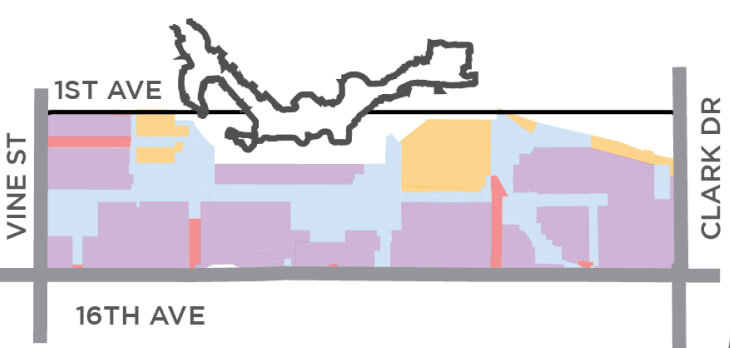 """Broadway Plan Simple Map of """"Character Areas"""""""