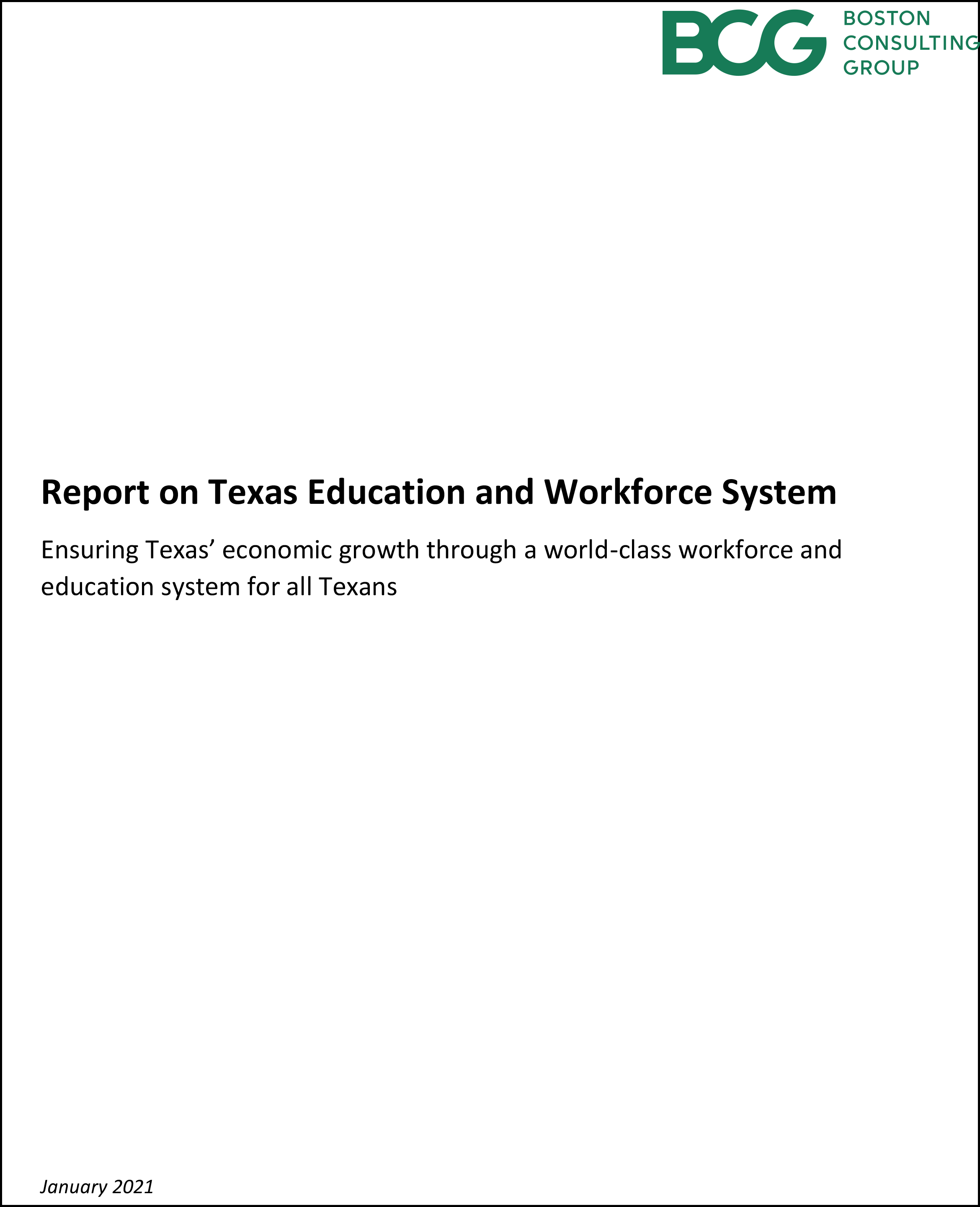 BCG Report on Texas Education and Workforce System