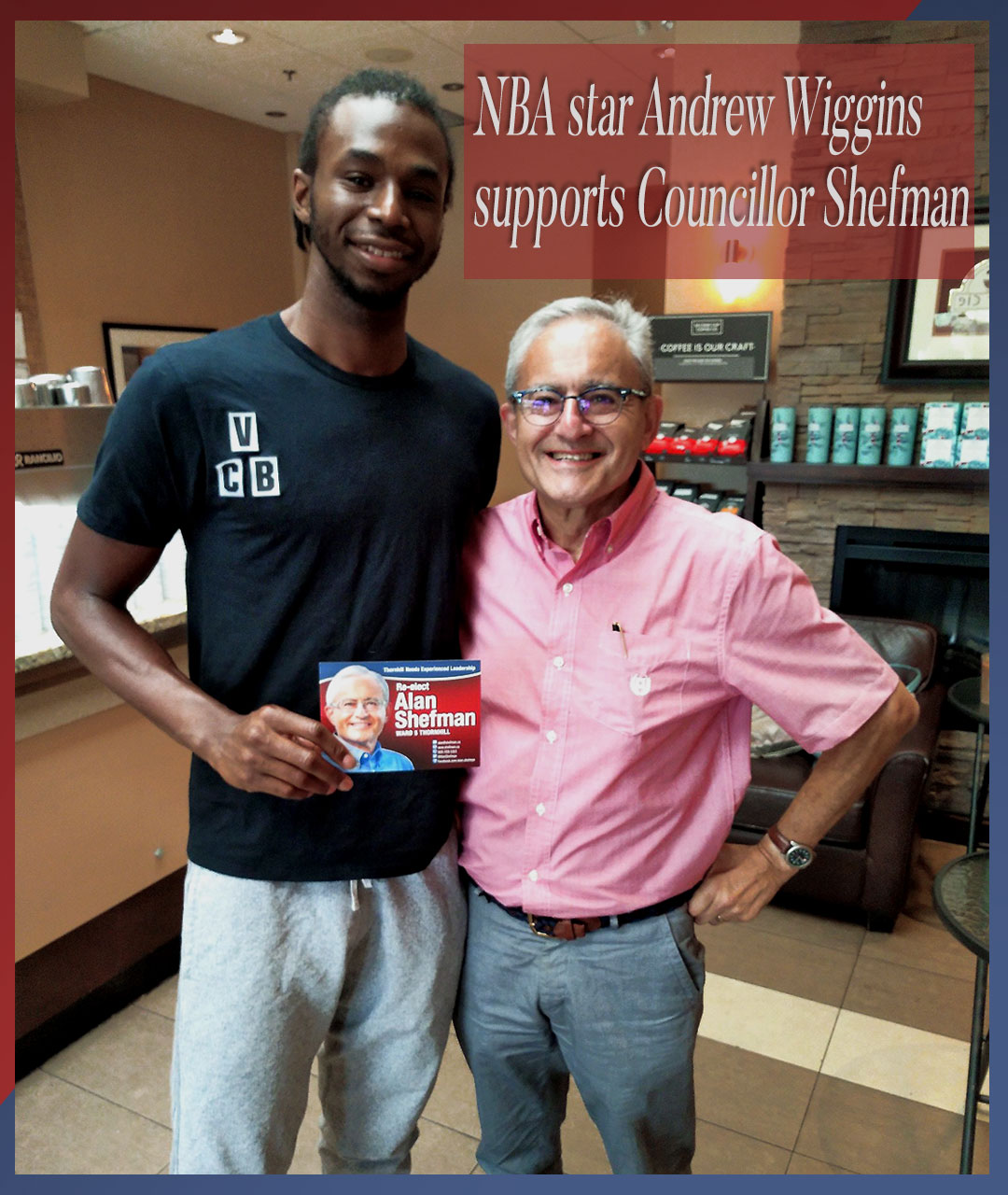 Andrew Wiggins supports Councillor Alan Shefman