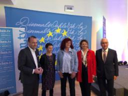 Team Europe's Nicola Beer debates with Manfred Weber
