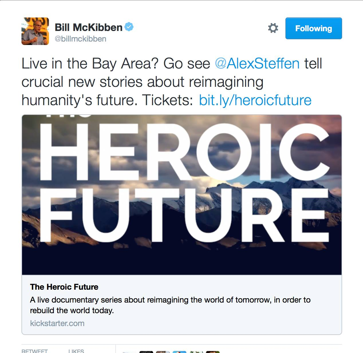 Bill McKibben backs The Heroic Future