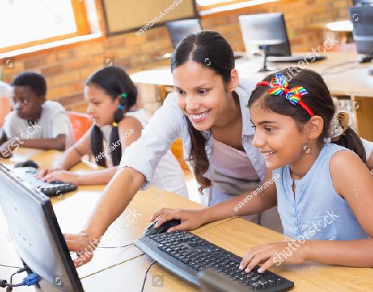 Children on computers
