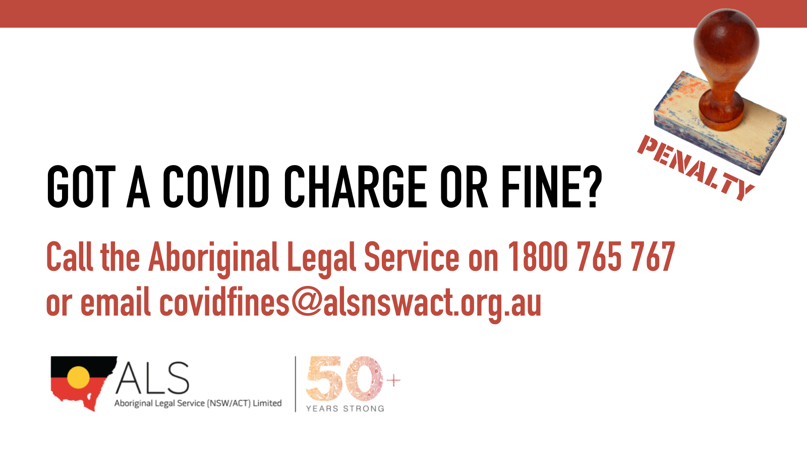 ALS support for COVID fines and charges
