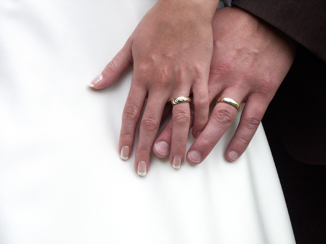 Holding hands wedding photo