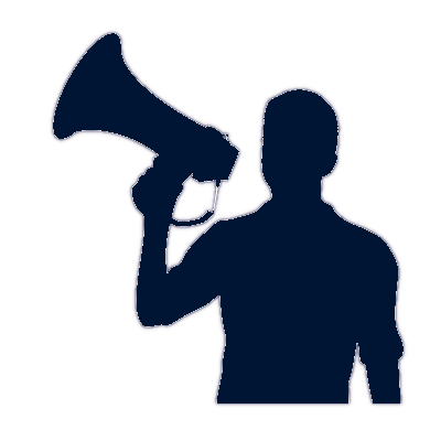 Image of person with bullhorn
