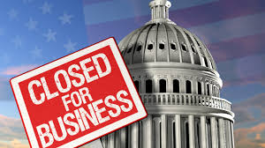 Closed for Business Sign on U.S. Capitol