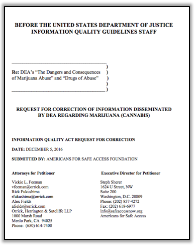 A picture of the cover of the IQA petition.