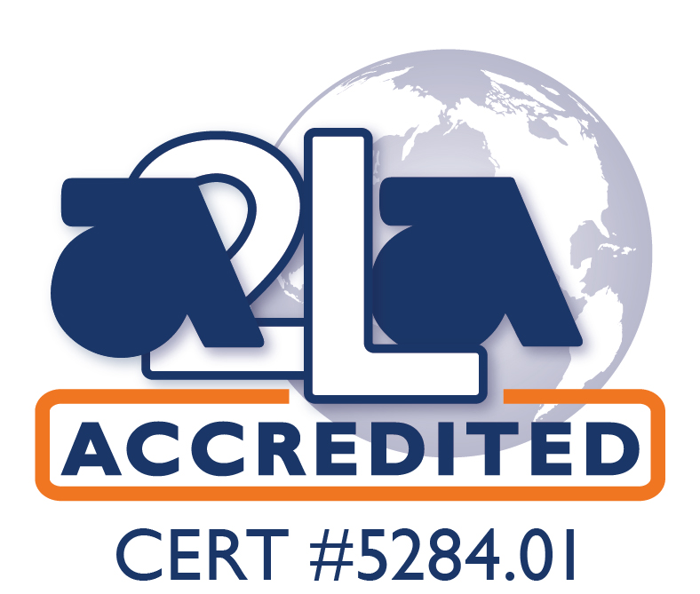 This graphic indicated that we have achieved Accreditation through A2LA and indicates that our certification number is #5284.01
