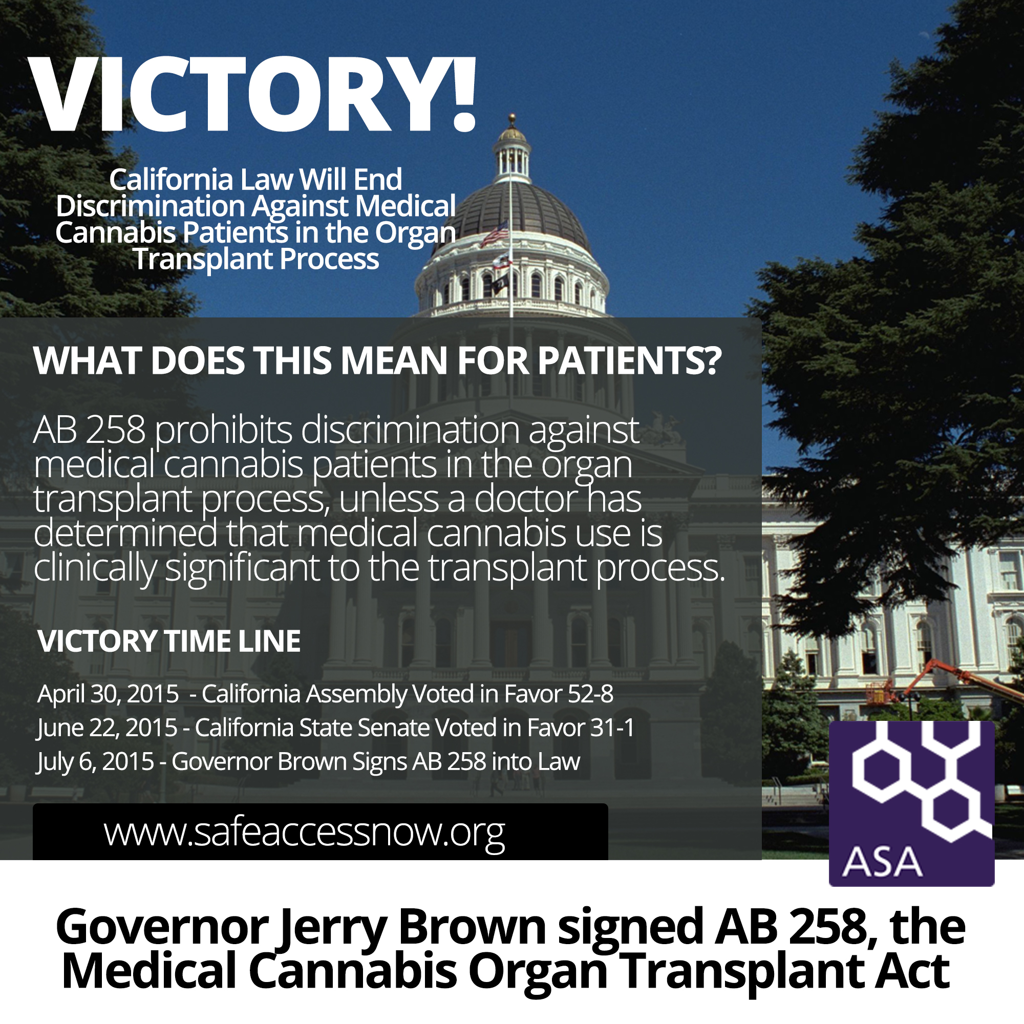Breaking News California Governor Jerry Brown Signs AB 258 The Medical Cannabis Organ Transplant Bill