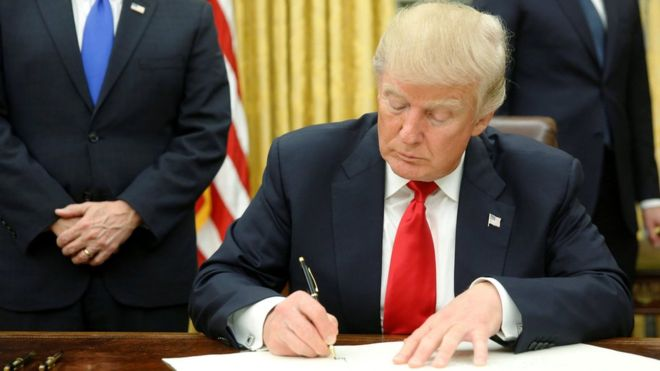 President Donald Trump Signing Order